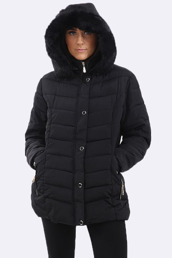 Quilted Padded Zip Pocket Faux Fur Jacket (Pack Of 7)