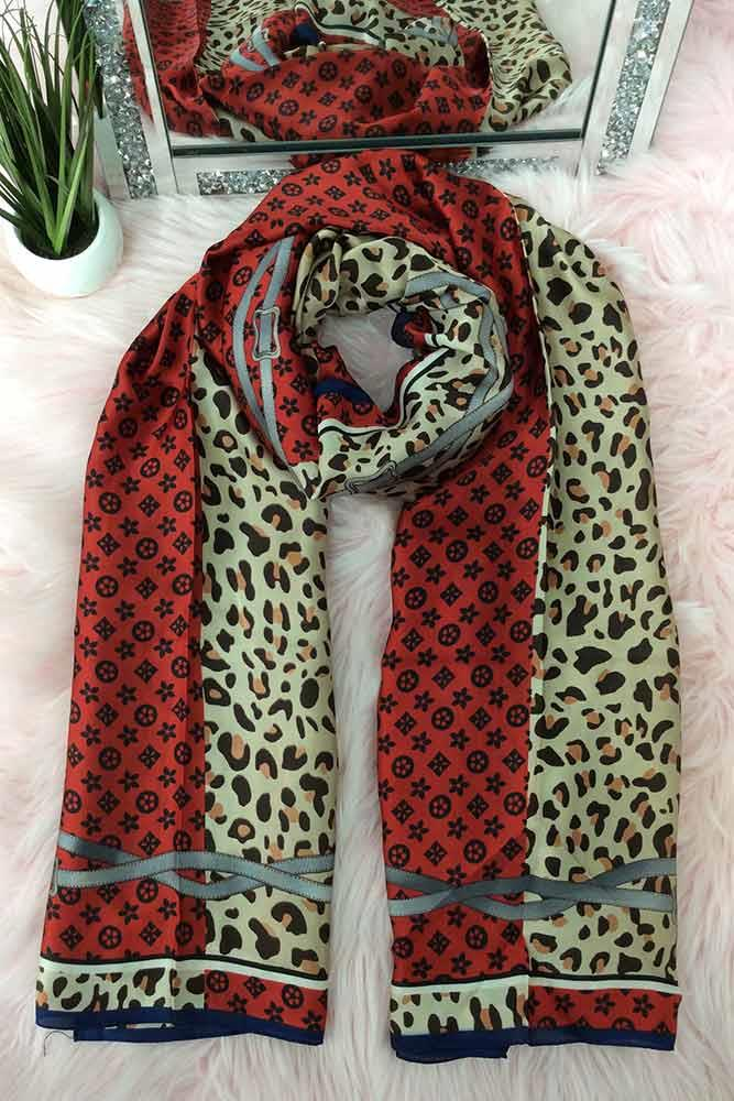 Monogram Leopard Belt Design Silk Scarves