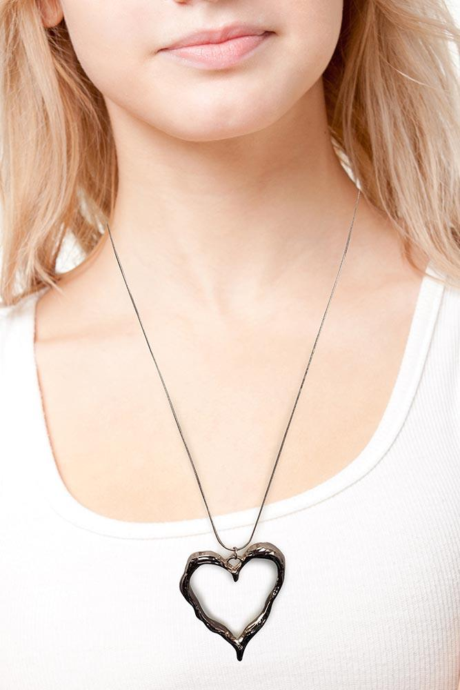 Open Heart Pendant Chain Necklace