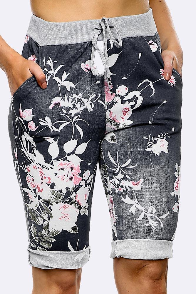 Black Floral Printed 3/4 Drawstring Trouser