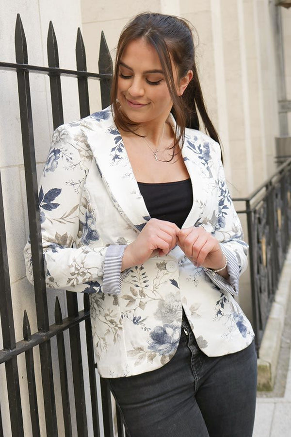 Single Button Faded Floral Blazer (Pack Of 4)