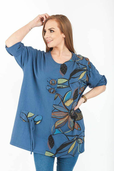 Wholesale Cotton Abstract Print Top Roll Up Sleeves