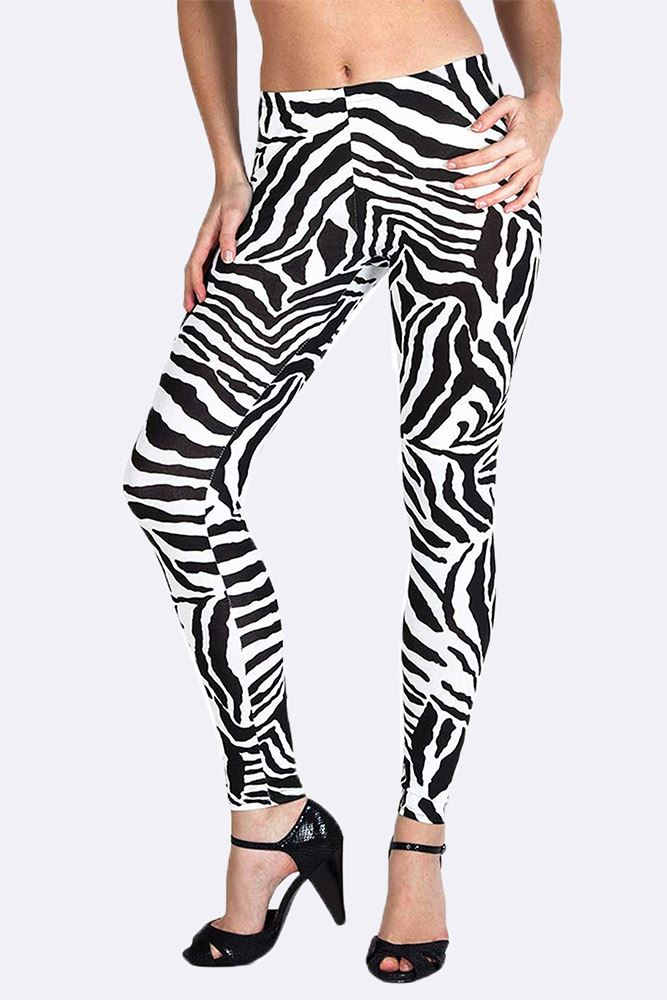 Wholesale Zebra Print Black Legging