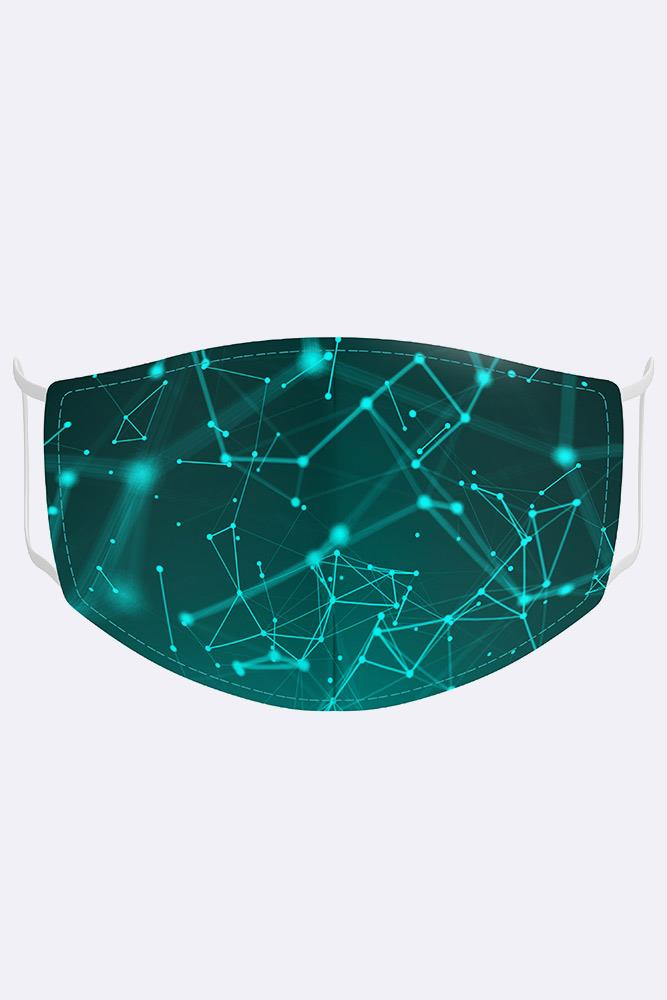Unisex Abstract Neuron Network Digital Print 2 Ply Cotton Face Mask Cover