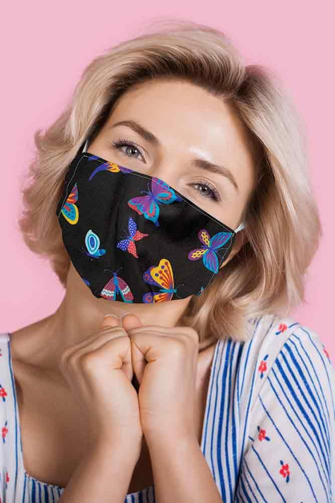 Colourful Butterflies Print Face Mask Cover