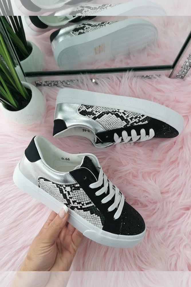 Snake Print & Glitter Lace Trainers