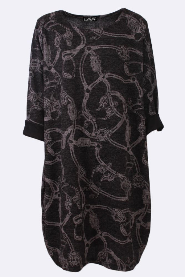 Abstract Chain Print Bodycon Long Sleeve Dress