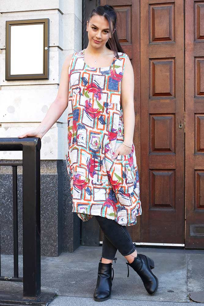 Abstract Bubble Hem Linen Dress