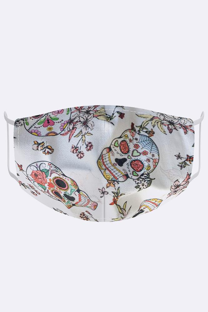 Floral White Skull Fashion Face Mask Cover