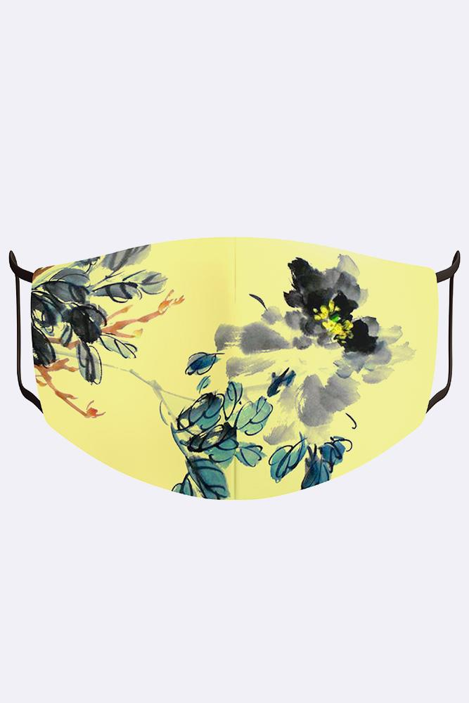 Unisex Abstract Floral Print Digital 2 Ply Cotton Face Mask Cover