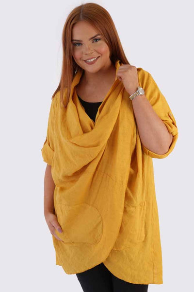 Wholesale Lagenlook Linen Drape Wrap Top