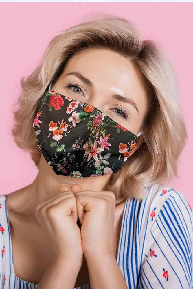 Black Multi Floral Print Face Mask Cover