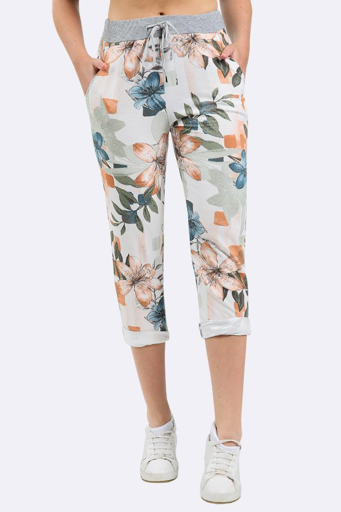 Floral Print Pocket Drawstring Trouser