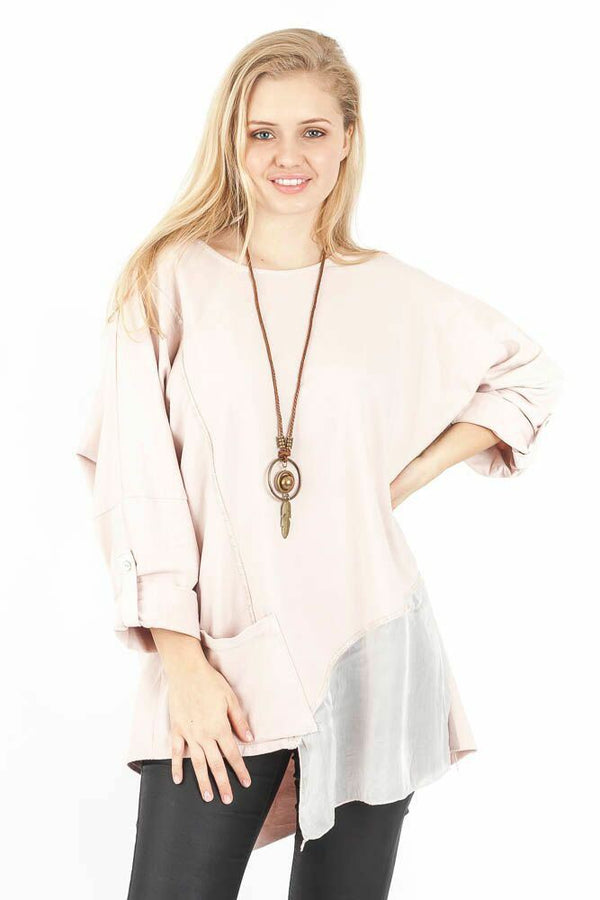 Wholesale  Asymmetric Cotton Chiffon Hem Chic Casual Necklace Top