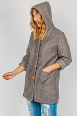 Wholesale Texture Wool Button Hooded Jacket