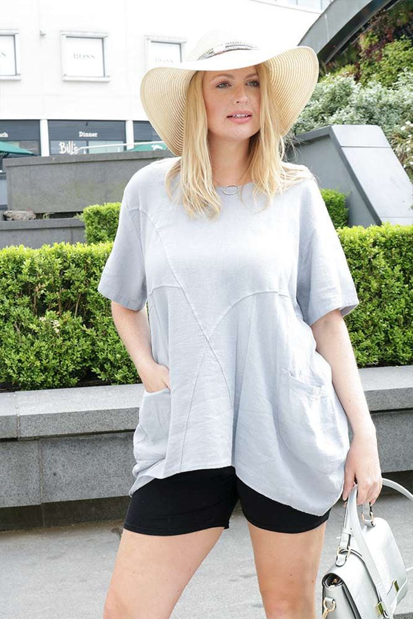 Paneled Bubble Hem Linen Top