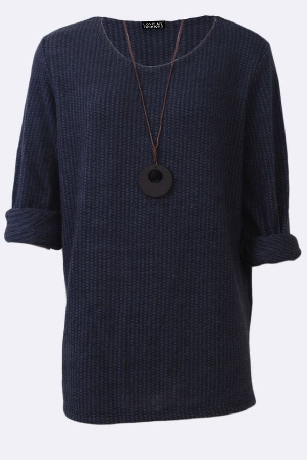 Textured Fabric Long Sleeve Crew Neck Necklace Top