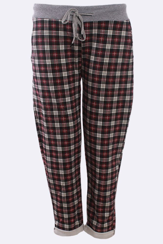 Check Print Drawstring Lined Trouser