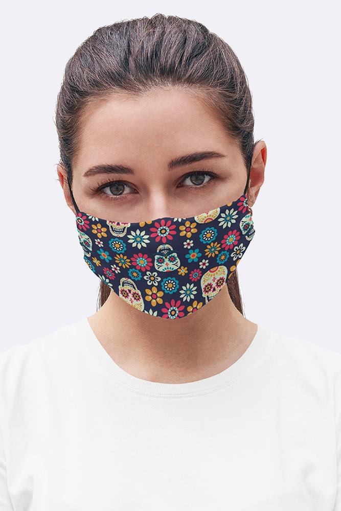 Sugar Skull Floral Print Fashion Face Mask Cover