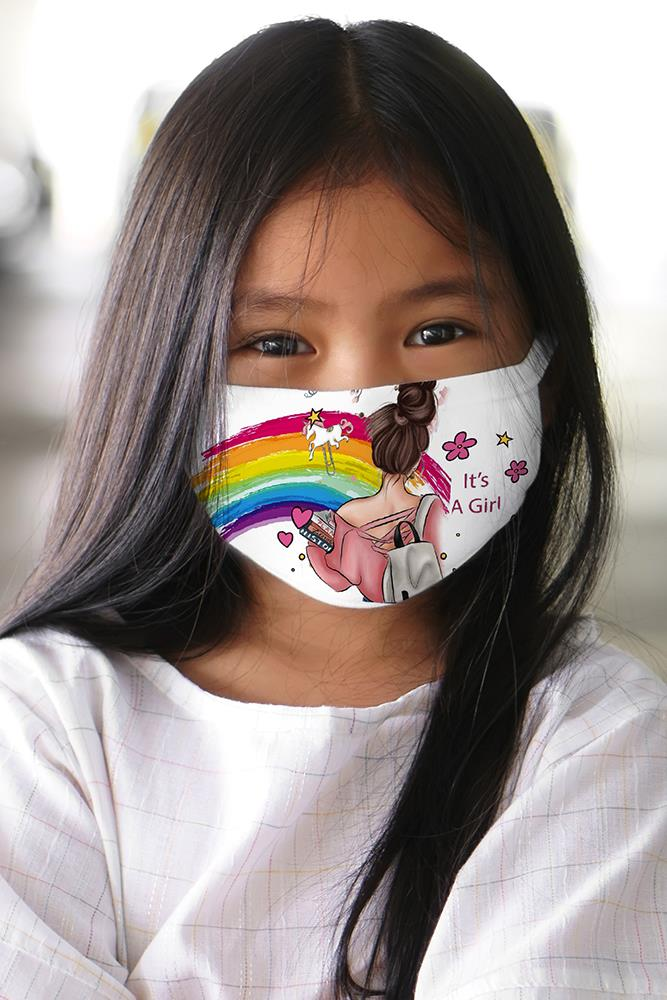 Kids Its A Girl Text 2 Ply Digital Print Cotton Face Mask Cover