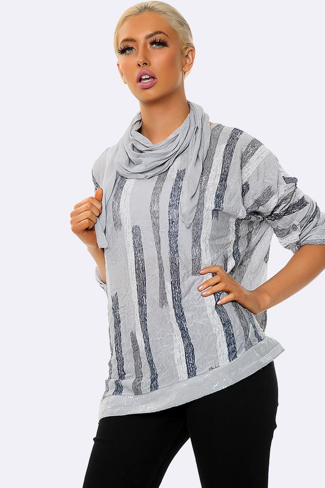Italian Vertical Stripe Print Top