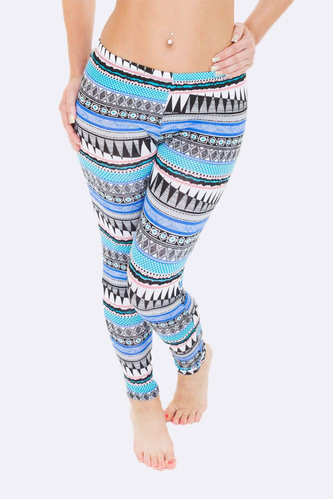 Wholesale Full Aztec Print Blue Legging