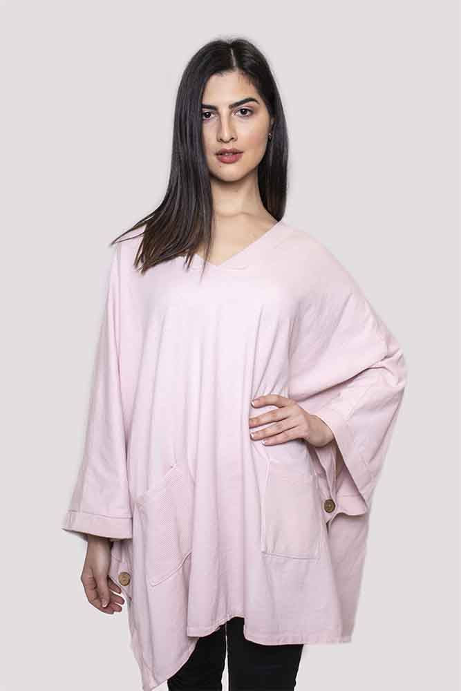 Wholesale Poncho Pocketed V-Neck