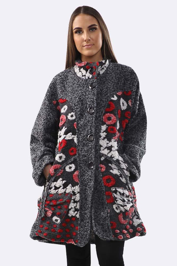 Teddy Fleece Patchwork Button Long Sleeve Jacket