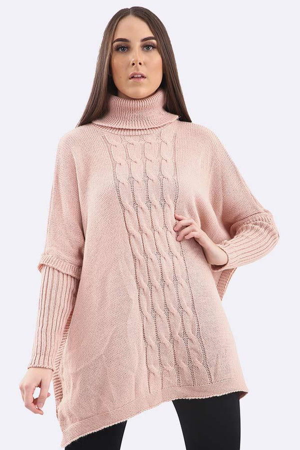 Cable Knit High Neck Long Sleeve Poncho Jumper