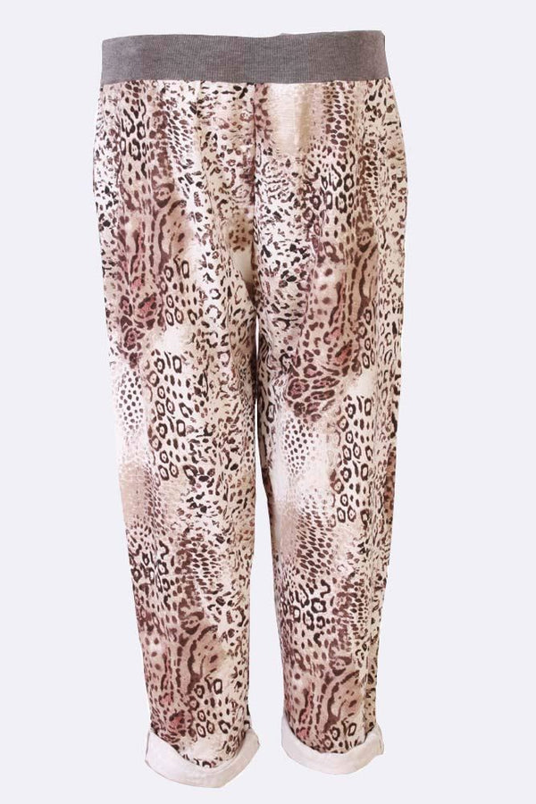Cheetah Print Foldover Hem Cotton Trouser