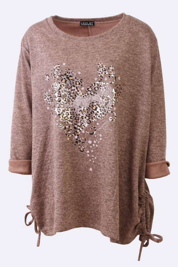 Leopard Heart Print Drawstring Sides Tunic Top