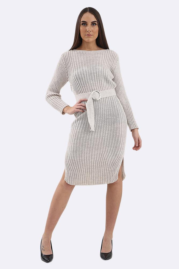 Stripe Cable Knit With Long Sleeve Belt Long Dress