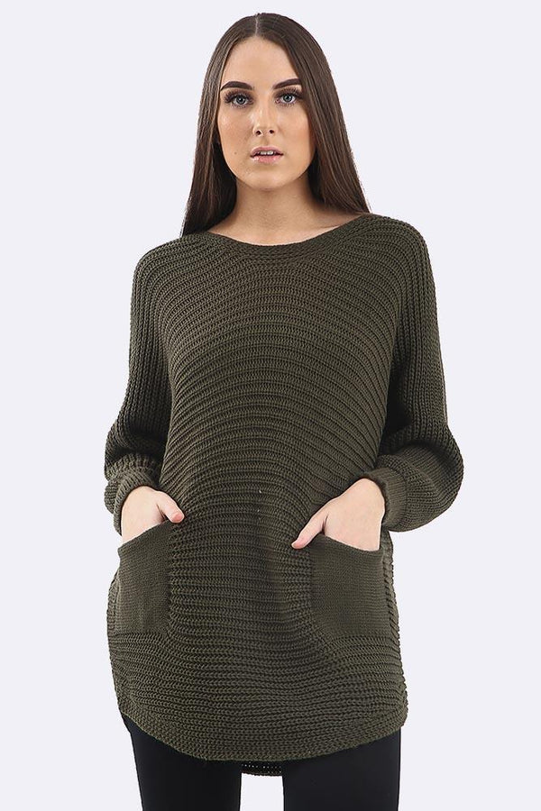 Stripe Print Knitted Pocket Jumper