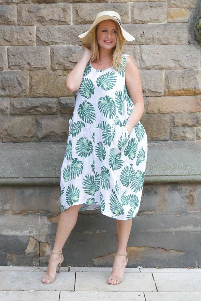 Bow Pocket Palm Print Dress