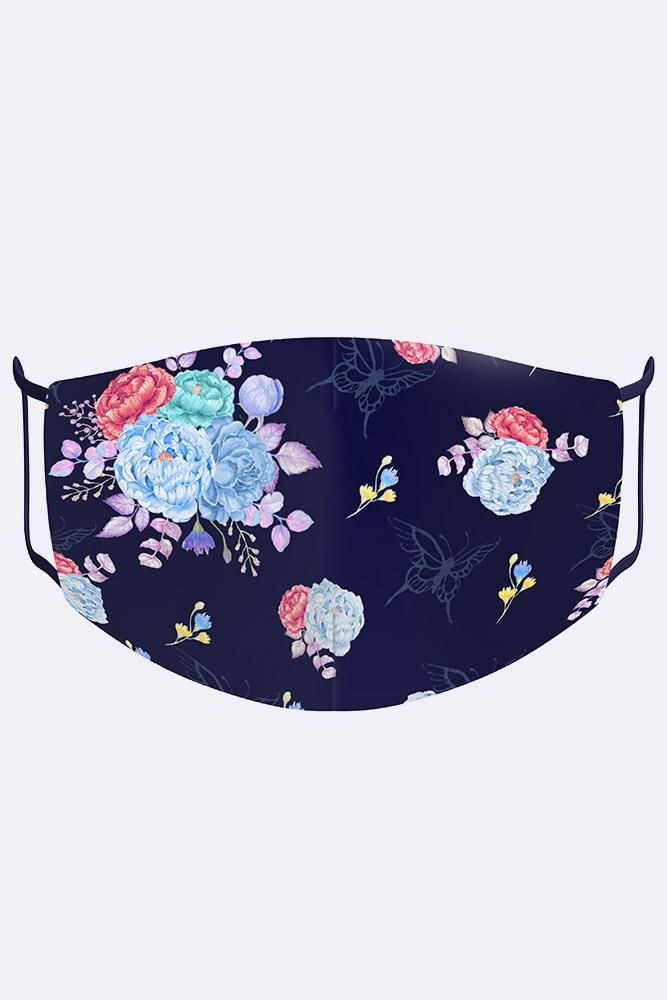 Multi Colored Peony Blossoms Print Digital 2 Ply Cotton Face Mask Cover