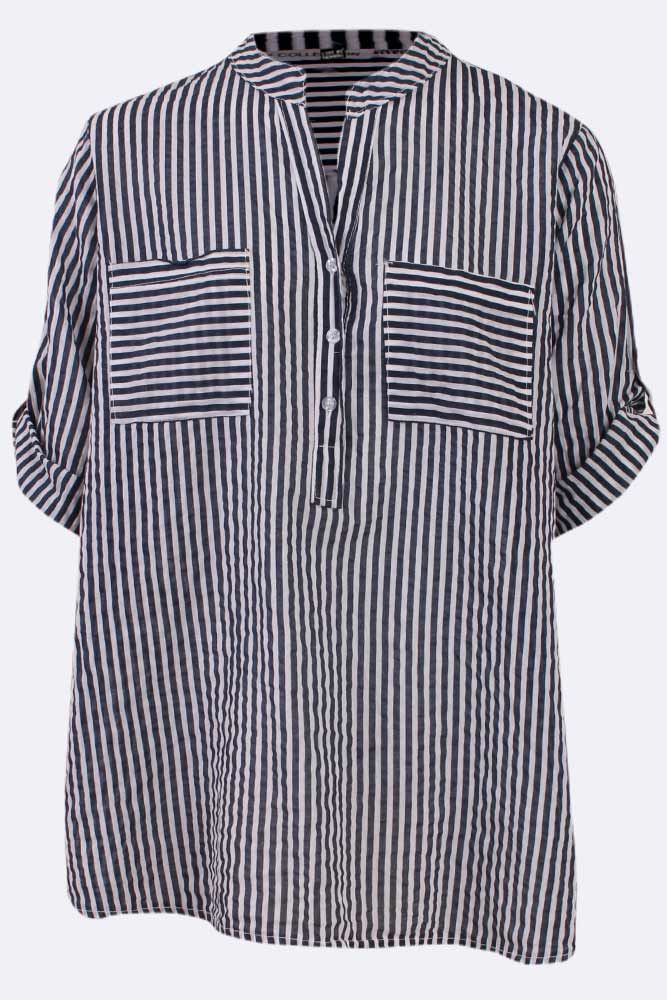 Stripe Y Neck Pocket Top