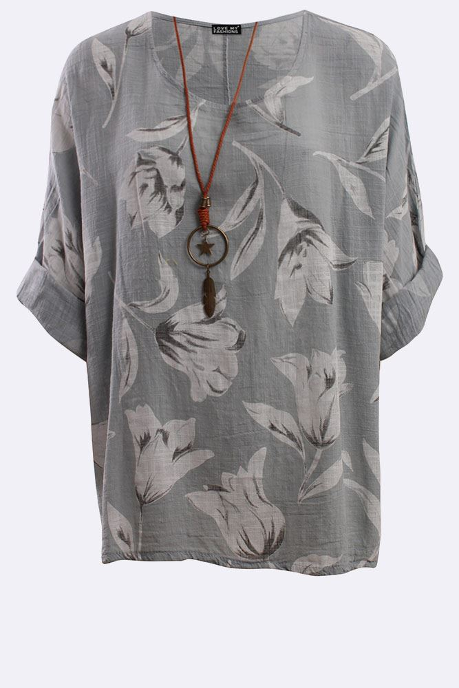 Italian Cotton Tulip Print Necklace Tunic Top