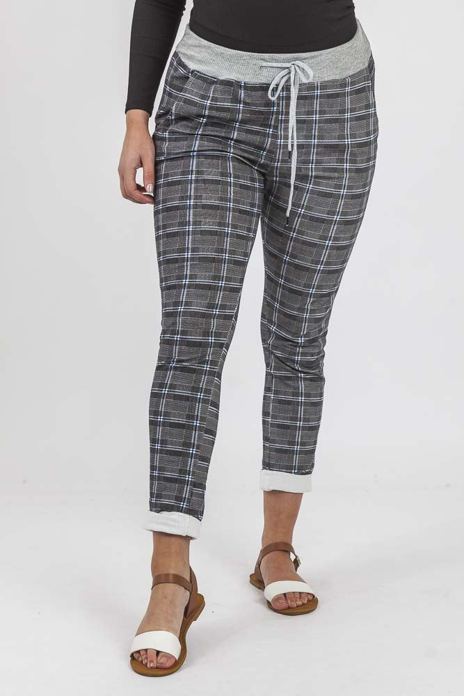 Check Print Pocket Foldover Hem Trouser