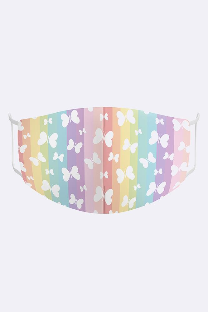 Kids Rainbow Butterflies 2 Ply Digital Print Cotton Face Mask Cover