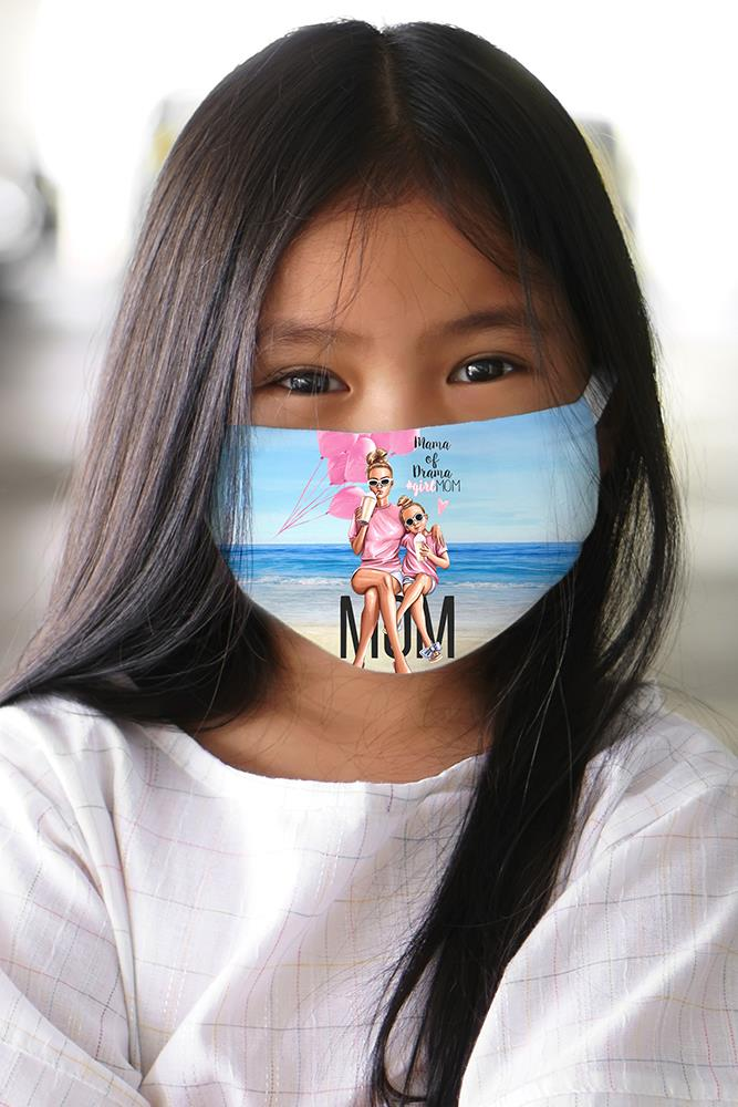 Kids Mama Of Drama 2 Ply Digital Print Cotton Face Mask Cover
