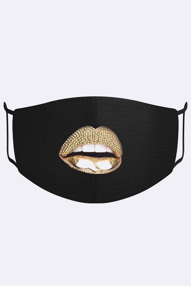 Digital Golden Crystal Glossy Sexy Lips Print Cotton Face Mask Cover