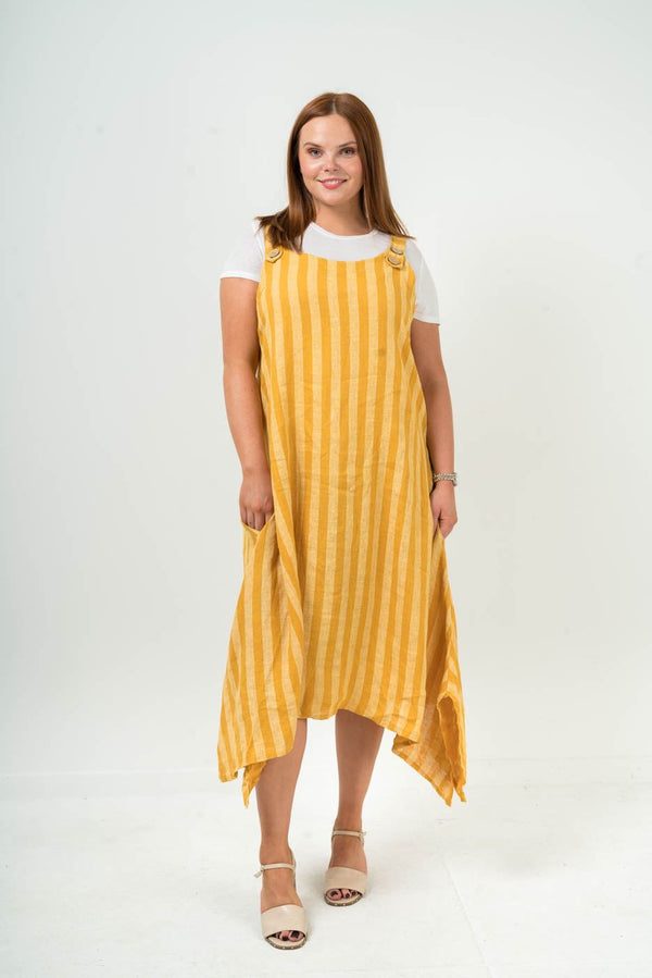 Side Slits Linen Stripy Dungaree Dress