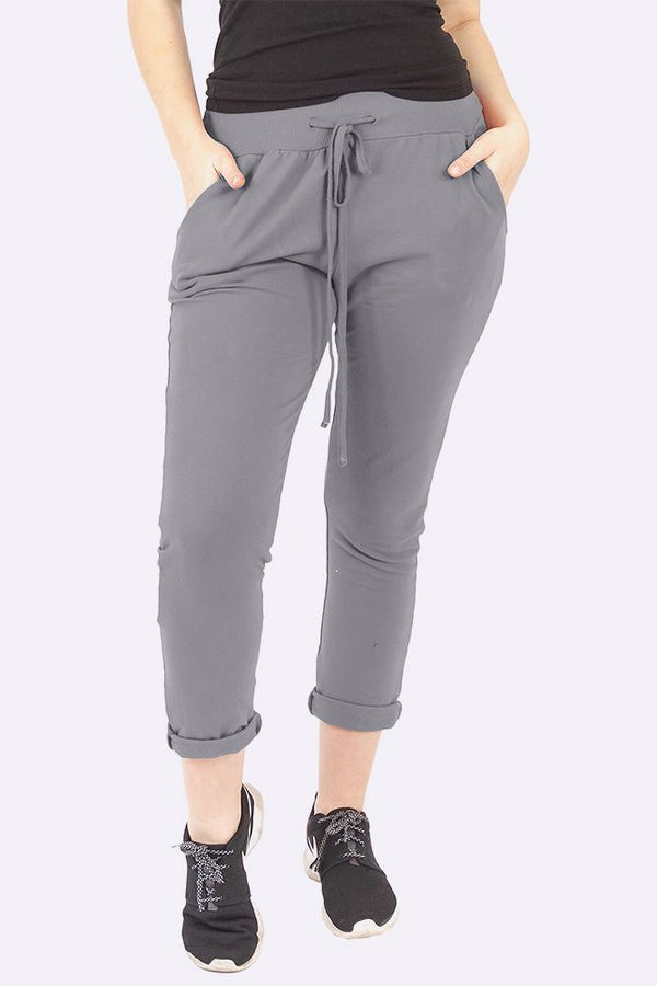 Italian Plain Drawstring Pocket Trousers