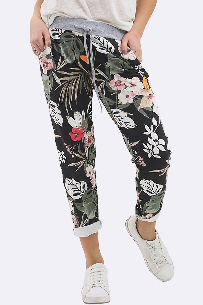 Tropical Print Drawstring Trouser