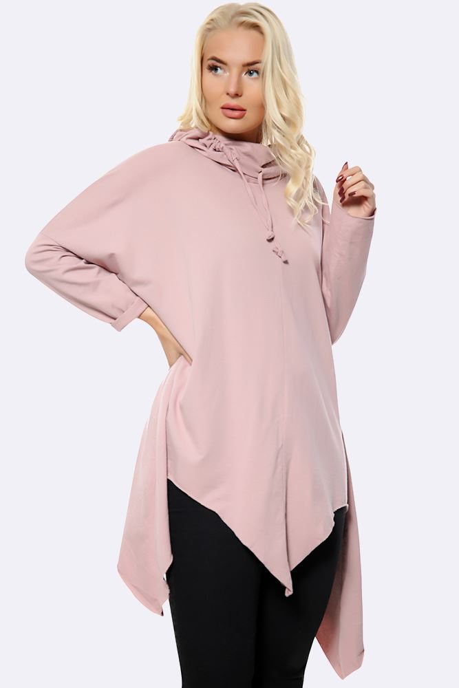 Plain Cowl Neck Hanky Hem Top