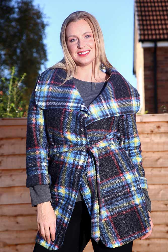 Print Check Belted Cardigan