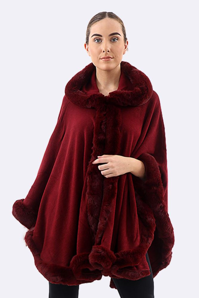 Fluffy Border Cape Hooded Poncho