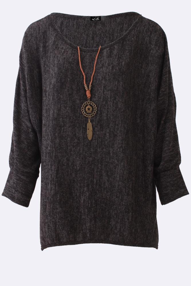 Long Sleeve Textured Necklace Top