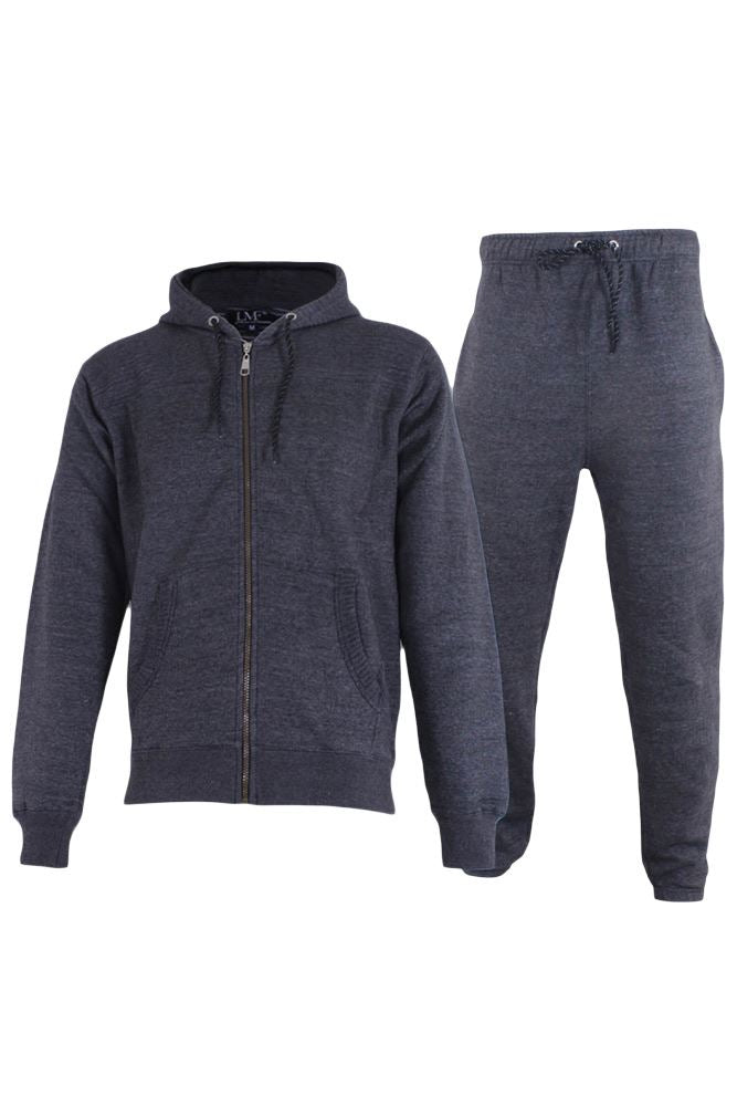 Wholesale Mens Plain Ribbed Panel Fleece Tracksuit