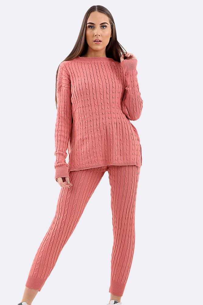 Long Chunky Cable Knit Jumper Tracksuit